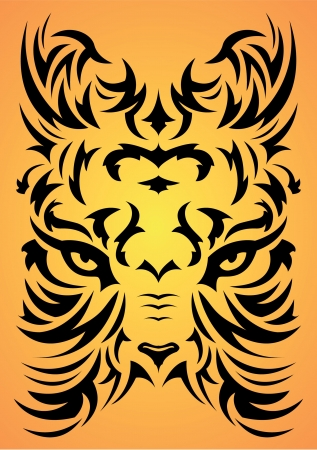 Stylized Tiger face symbol - tattoo, vector illustration
