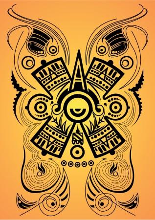 Gestileerde Maya symbool - tattoo, vector illustration Stock Illustratie