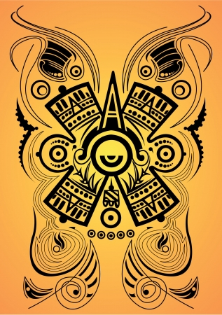 Stylized Mayan symbol - tattoo, vector illustration Vector