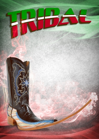 Mexican pointy boot poster - mexican tribal music club dancing Stock Photo - 17627899