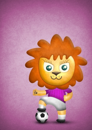 motley: Cartoon cute lion, paper and fabric textures on pink background