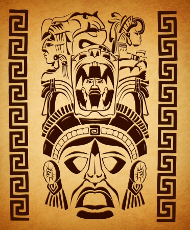 mexican Mayan motifs - symbol - paper texture  스톡 콘텐츠