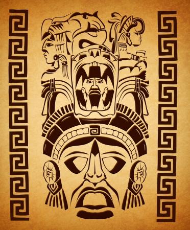 mexican Mayan motifs - symbol - paper texture  Banque d'images