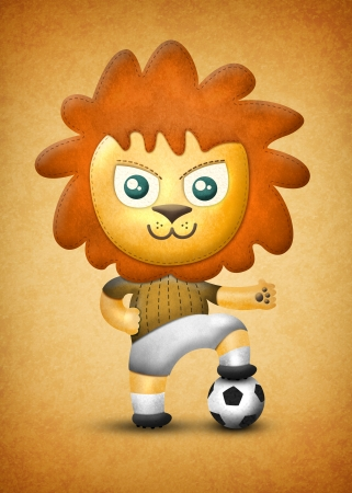 Cartoon cute lion, paper and fabric textures on texture background photo