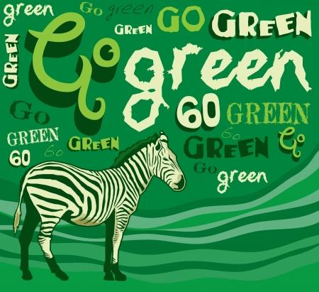 Zebra  Vector illustration - goo green - save the planet
