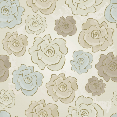 Vintage Floral Seamless vector pattern of Roses  Ornamental illustration texture