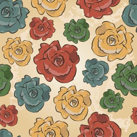Vintage Floral Seamless pattern of Roses  Ornamental illustration texture  Иллюстрация