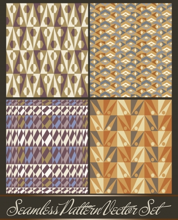 Set of four seamless pattern in retro style - African pattern