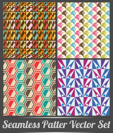Set of four seamless pattern colorful style - vector pattern Vectores
