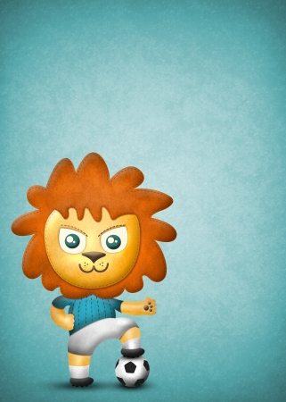 Cartoon cute lion, paper and fabric textures on blue texture background photo