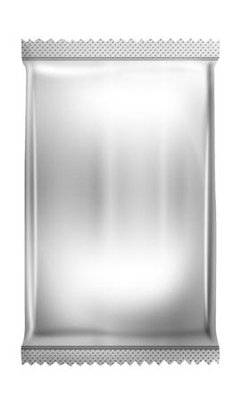 흰색 빈 호 일 포장, 디자인 스낵 제품 포장을위한 플라스틱 팩 준비 스톡 콘텐츠