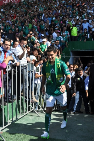 officially: LEON GUANAJUATO, MEXICO - DECEMBER 14: Rafael Marquez is officially presented as new player of CLUB LEON, conducted a press conference and an event for the fans on December 14 2012 at ESTADIO LEON. Editorial