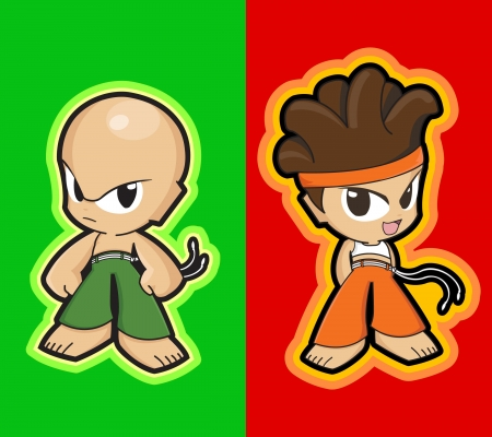 characters - manga style - martial artists kids Vector