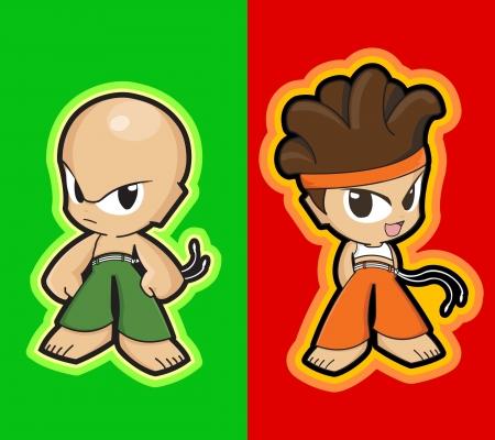 manga style:  characters - manga style - martial artists kids