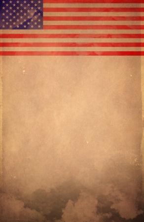 Vintage America flag poster - card - template