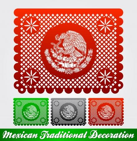 Мексика: Мексиканская традиционный патриотический украшения - легко редактировать Иллюстрация