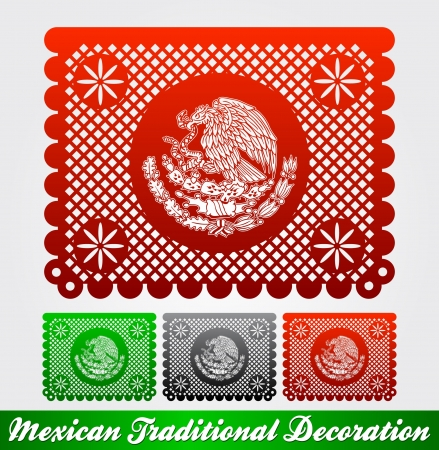 Mexican traditional patriotic decoration - easy edit