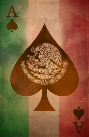 Mexican ace of spades Grunge poster background - flag