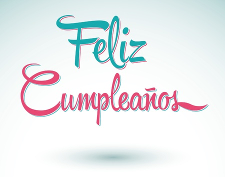 Feliz Cumpleanos - happy birthday spanish text - lettering Illusztráció