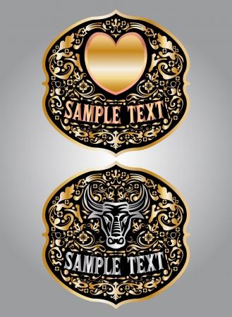 buckle: Heart - Bull - cowboy belt buckle vector design