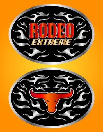 belt buckle: Extreme Rodeo cowboy belt buckle vector design