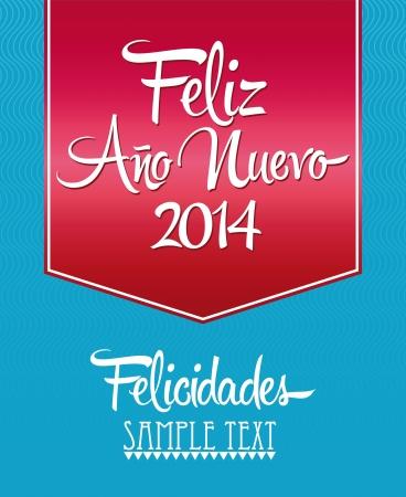 Feliz Ano Nuevo - spanish text - Happy New Year lettering Greeting Card