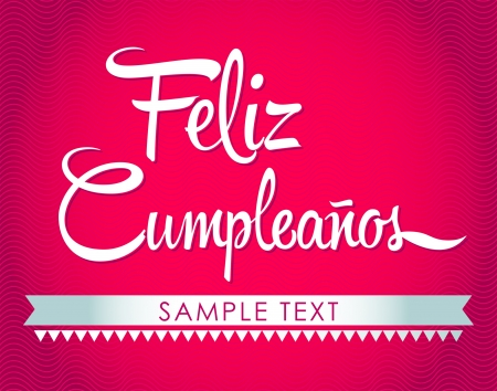 Feliz Cumpleanos - happy birthday spanish text - vector lettering Stock Vector - 20503979