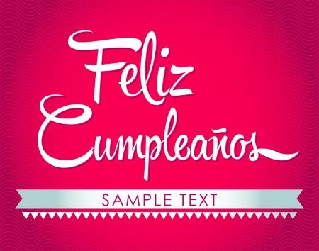 happy people: Feliz Cumpleanos - happy birthday spanish text - vector lettering Illustration