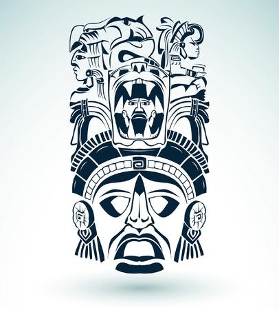 Vector mask, mexican Mayan - aztec motifs - symbol  Stock Vector - 20749639