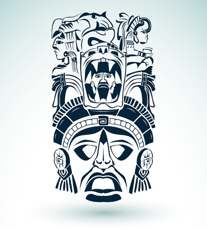 Vector masker, mexicaanse Maya - aztec motieven - symbool Stock Illustratie