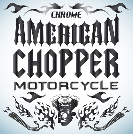 Chopper Motorcycle elements - lettering Vector
