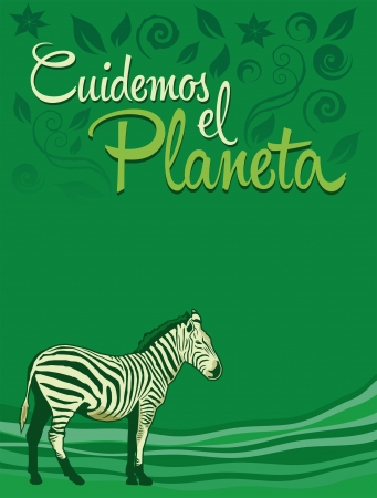 care: Cuidemos el Planeta - Care for the Planet spanish text - Vector ecology concept -  Illustration