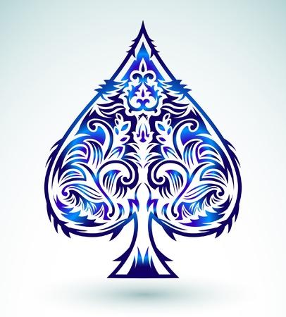 에이스: 부족 스타일의 디자인 - 스페이드 에이스 포커 카드 놀이, 벡터 일러스트 레이 션 일러스트