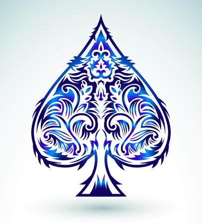 Tribal style design - spade ace poker playing cards, vector illustration Illustration