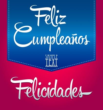 Feliz Cumpleanos - happy birthday spanish text - vector lettering Illusztráció