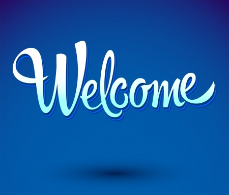 locution: welcome - lettering vector