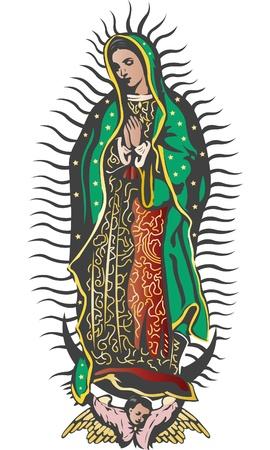 Mexicaanse Maagd van Guadalupe - kleur vector Stock Illustratie