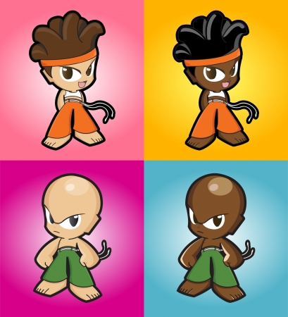 african cartoon: Sport boy and girl character set - master collection - manga style Illustration