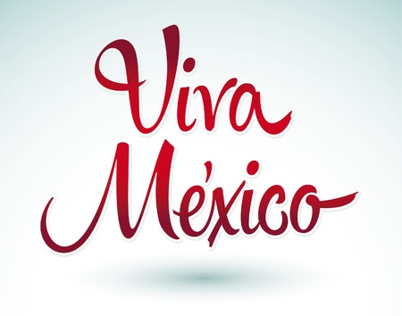 Viva Mexico - vector lettering title  Stock Illustratie