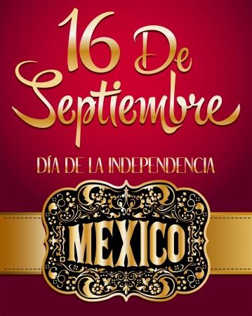 16 de Septiembre, dia de independencia de Mexico - September 16 Mexican independence day spanish text and cowboy buckle