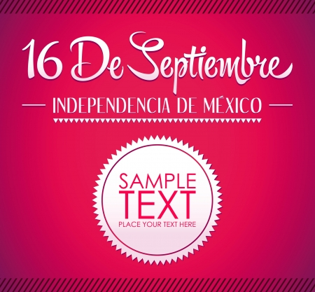16: 16 de Septiembre, dia de independencia de Mexico - September 16 Mexican independence day spanish text card - poster - ribbon