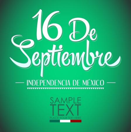 16 de Septiembre, dia de independencia de Mexico - September 16 Mexican independence day spanish text card - poster