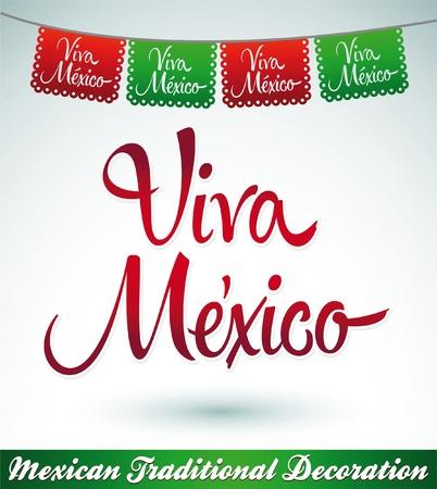 Viva Mexico - Mexicaanse vakantie vector decoratie Stock Illustratie
