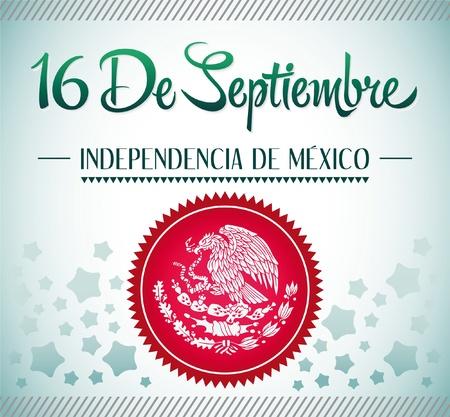 16 de Septiembre、dia de 中央広場 de メキシコ - メキシコ独立 9 月 16 日スペイン語のテキスト カード - ポスター - リボンします。  イラスト・ベクター素材