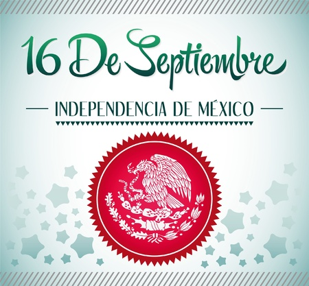 16 de Septiembre, dia de independencia de Mexico - September 16 Mexican independence day spanish text card - poster - ribbon