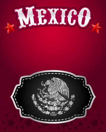 buckle: Mexican cowboy belt buckle vector design and lettering - poster - card template Illustration