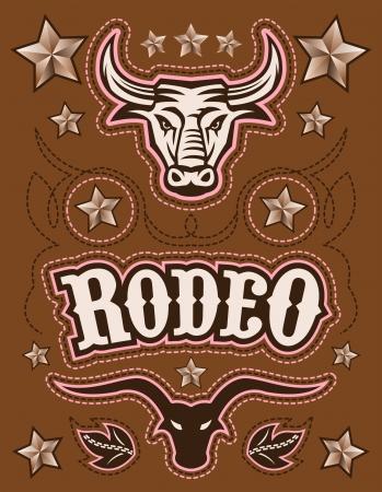 jinete: American Vintage Rodeo vector - elementos - tarjeta de