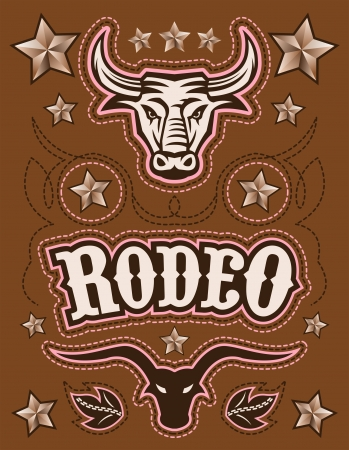 american rodeo: Vintage American Rodeo vector set - elementi - modello di scheda