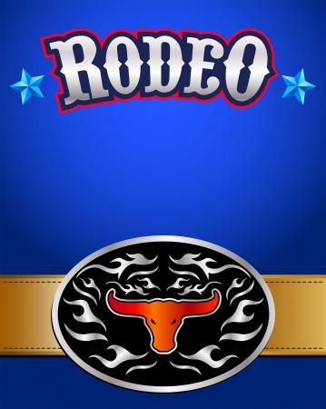 american rodeo: Americano rodeo poster - fibbia della cintura occidentale Vettoriali