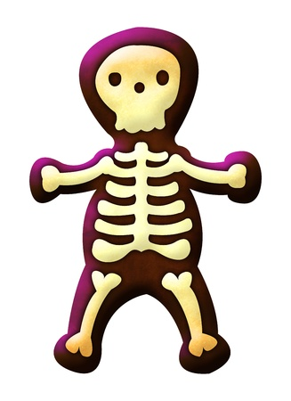 Cute skeleton isolated on white